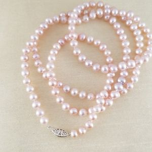 36in pink cultured pearl necklace, 925 clasp